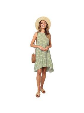 0f45155ba95 Product Image Women Sleeveless Round Neck Polka Dots Printed Ruffled Sexy  Loose Dress Soft Fit Mini Dress