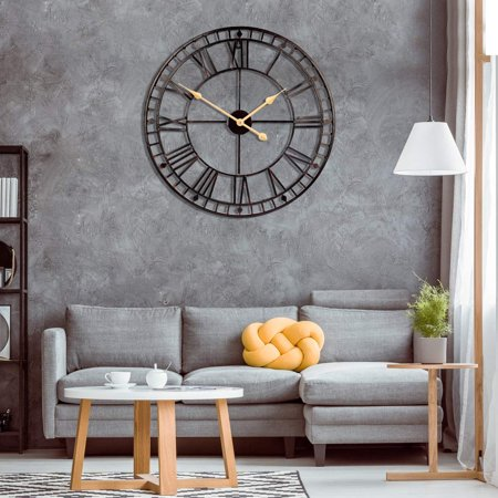 Vintage Wall Clock Rustic Retro Metal Decor With Roman Numerals 16 Inch Handmade Not Ticking For Living Room Hotel Restaurant Decoration