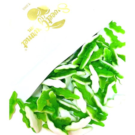 SweetGourmet Gummy Crocodile Candy | Green Layer and White Foam Bottom | Alligator Gummi | Halal | 3 Pounds - White Gummy