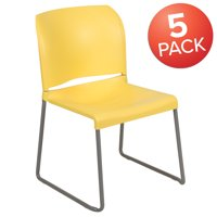 Flash Furniture HERCULES Series 5 Pack 880 lb. Capacity Yellow Full Back Contoured Stack Chair with Gray Powder Coated Sled Base