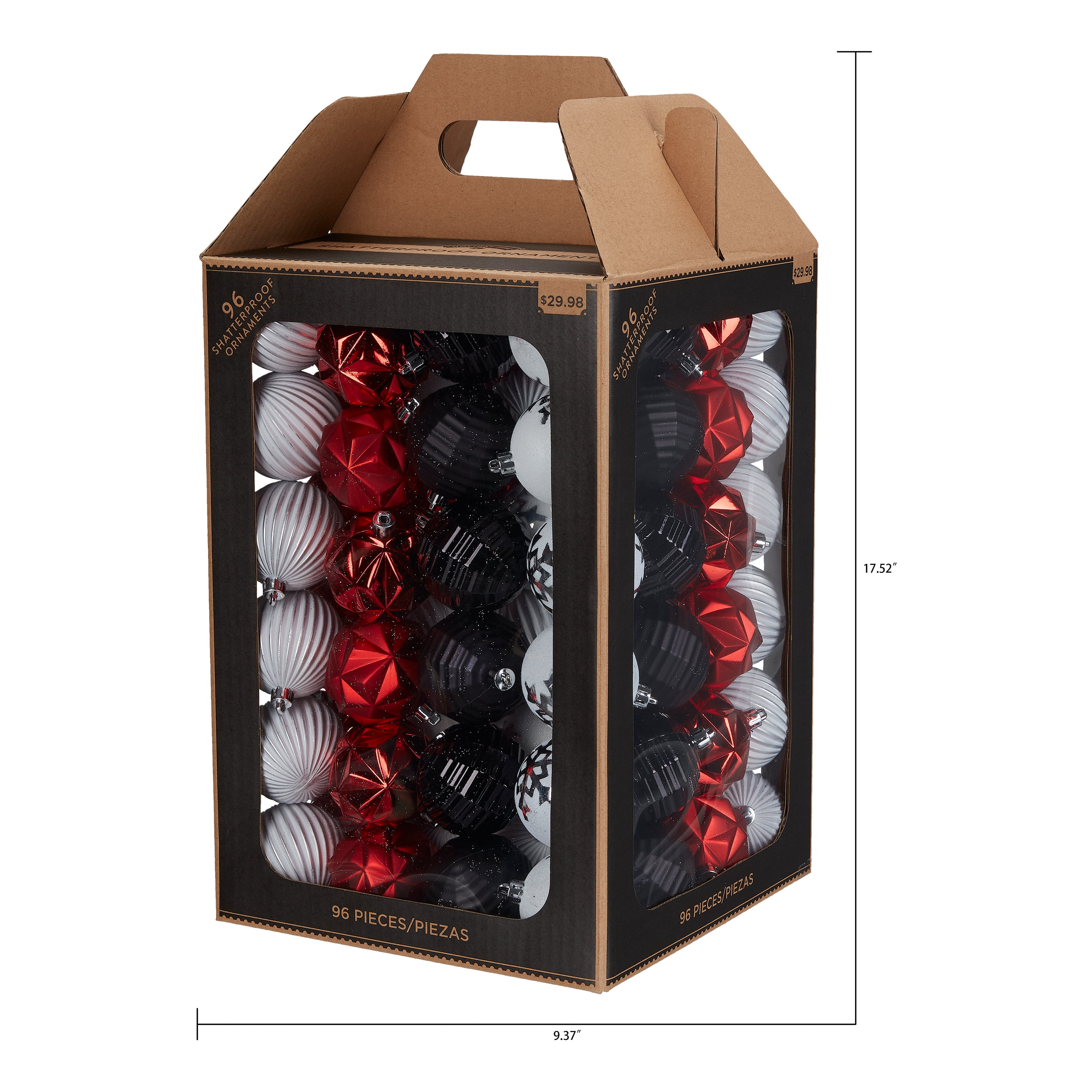 Holiday Time Shatterproof Christmas Tree Ornaments 96 Count Red White And Black Walmart Com Walmart Com