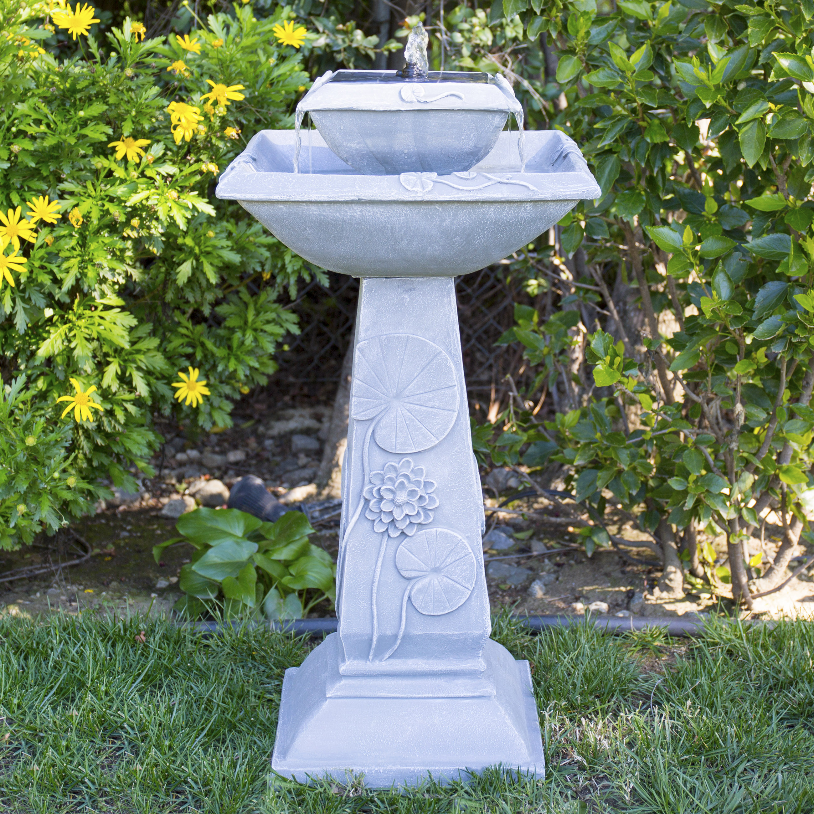 Best Choice Products 2-Tier Solar Bird Bath Fountain With LED Lights And Integrated Solar Panel