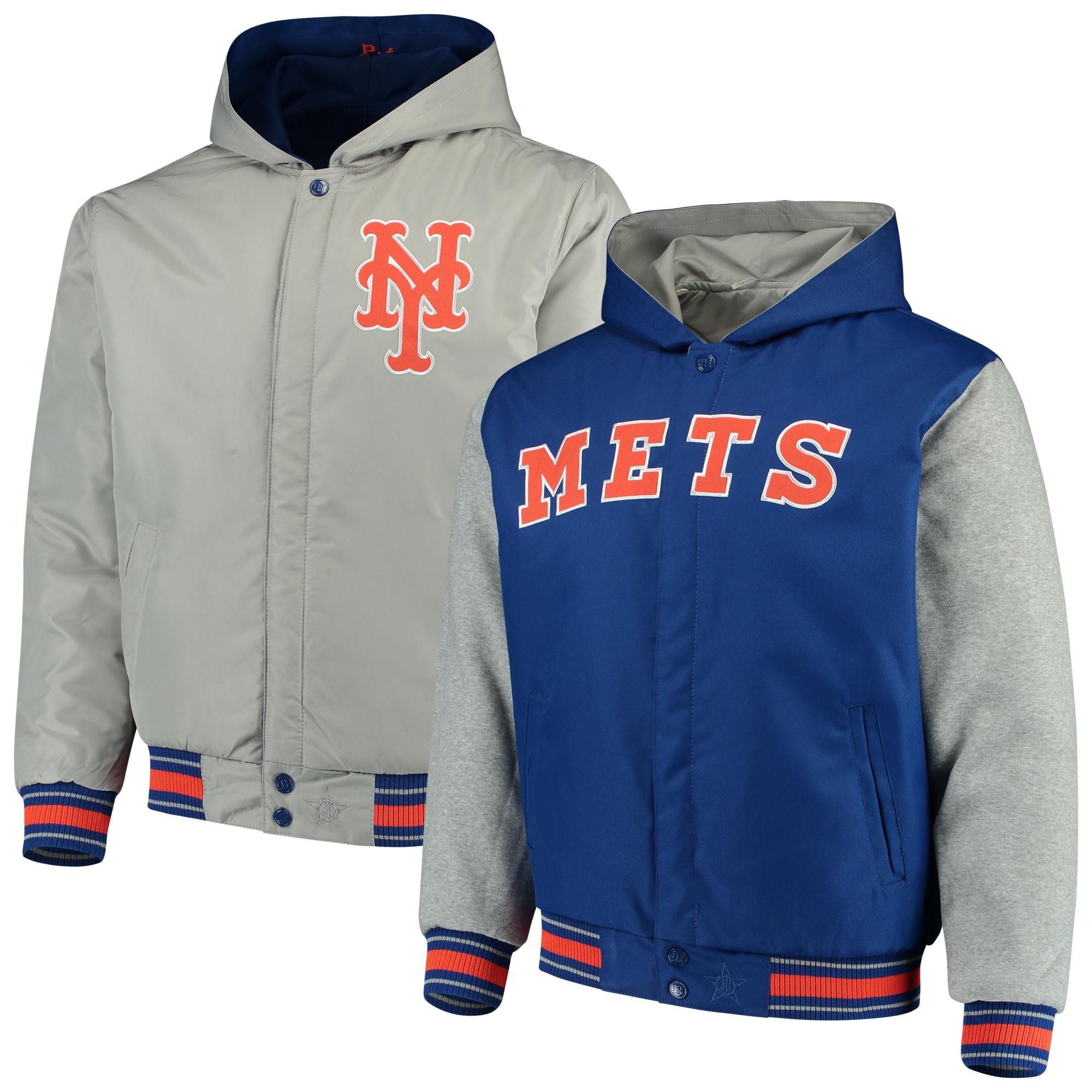New York Mets JH Design Reversible Full-Snap Twill Jacket - Royal/Gray