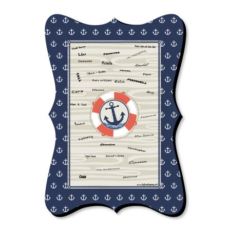 Ahoy - Nautical - Unique Alternative Guest Book - Baby Shower or Birthday Party Signature Mat - Gifts For Baby Shower Guests