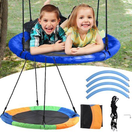 WALFRONT Large Saucer Swings for Children with Hanging Kit, Multicolor Round Outdoor Toys Kids Children Tree Hanging Saucer Swing Set, 440 lbs Giant Disk UFO Swingset for Backyard and Home Playground
