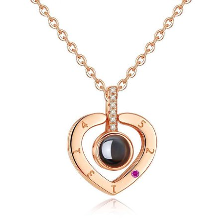 I LOVE YOU in 100 languages Fashion Heart Shape Pendant Necklace for Memory of LOVE for Wife Girlfriend Rose gold