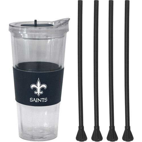 22oz NFL New Orleans Saints Straw Tumbler with 4 Colored Replacement Propeller Straws