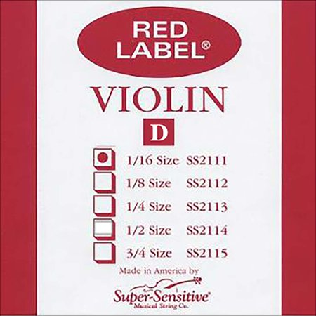 Super Sensitive Red Label 1/16 Violin D String - Medium Gauge - Nickel Wound Steel Core - Removable Ball