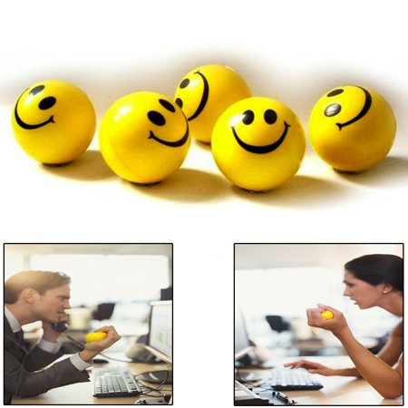 Dazzling Toys Happy Smile Face Stress Ball 1.5 Inch Balls - Pack of 24 - Neon Smile Face Relax-able Squeeze Balls in Yellow Color
