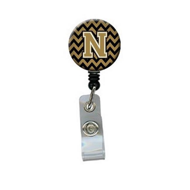 Carolines Treasures CJ1050-NBR Letter N Chevron Black & Gold Retractable Badge Reel, 5 x 1 x 2 in. - image 1 of 1