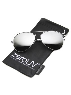 zeroUV - Classic Metal Frame Spring Hinges Color Mirror Lens Aviator Sunglasses - 58mm