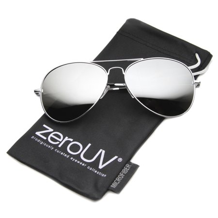 zeroUV - Classic Metal Frame Spring Hinges Color Mirror Lens Aviator Sunglasses - -