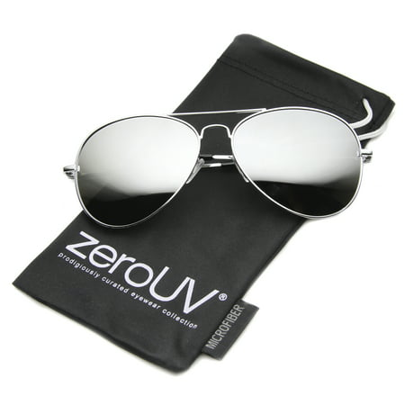 zeroUV - Classic Metal Frame Spring Hinges Color Mirror Lens Aviator Sunglasses - (Designer Mirrored Aviator Sunglasses)