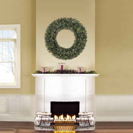 Holiday Time Prelit Green Basic Artificial Christmas Wreath, 36 in ()