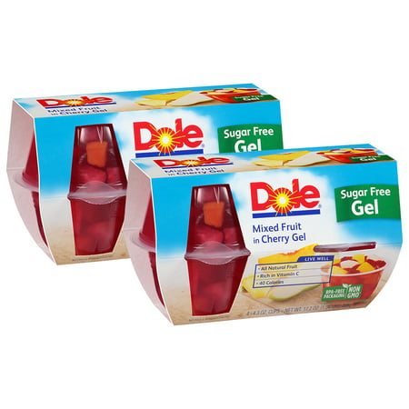 (8 Pack) Dole Fruit Bowls, Mixed Fruit in Sugar Free Cherry Gel, 4.3 Ounce (4 Cups)
