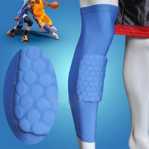 AGPtEK Strengthen Kneepad Honeycomb Pad Crashproof Antislip Basketball Leg Knee Long Sleeve Protective Pad (Blue, XL)