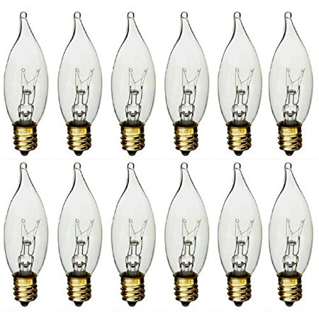 - STERL LIGHTING  60 Watt Clear Flame Shaped Incandescent Chandelier Light Bulb, Candelabra Base