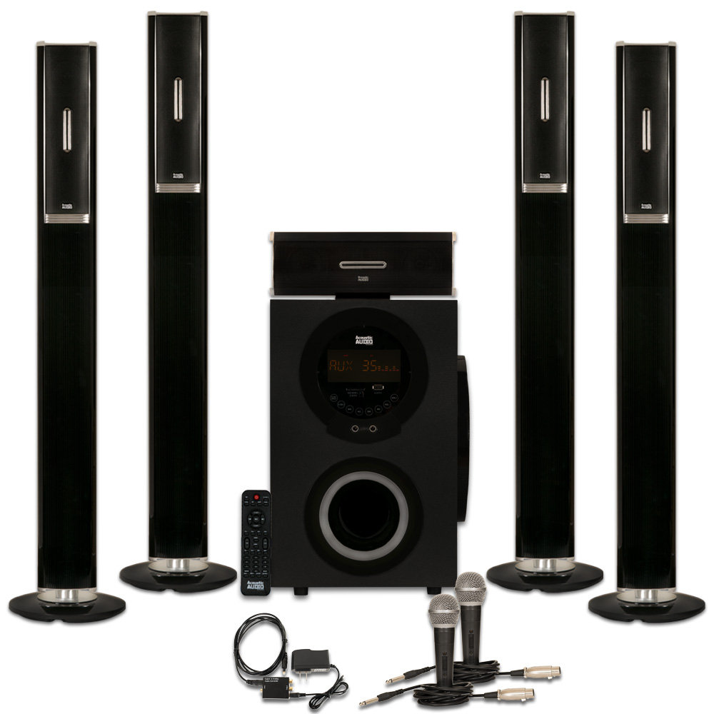 Acoustic Audio AAT3002 Tower 5.1 Home Theater Bluetooth Speaker System with Optical Input and Mics