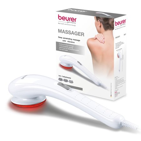 Beurer Handheld Electric Vibrating Massager for Deep Tissue Massaging, 3 Massage Attachments,