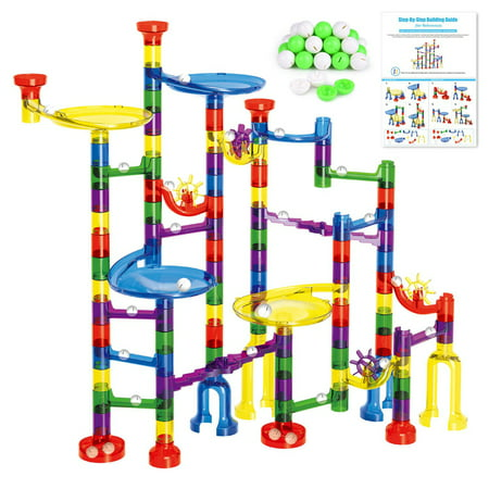 Marble Run Sets for Kids - 154 Pcs Marble Tracks Marble Maze Game STEM Building Toy Gift for Boys and Girls (90Translucent Pieces + 64Marbles)