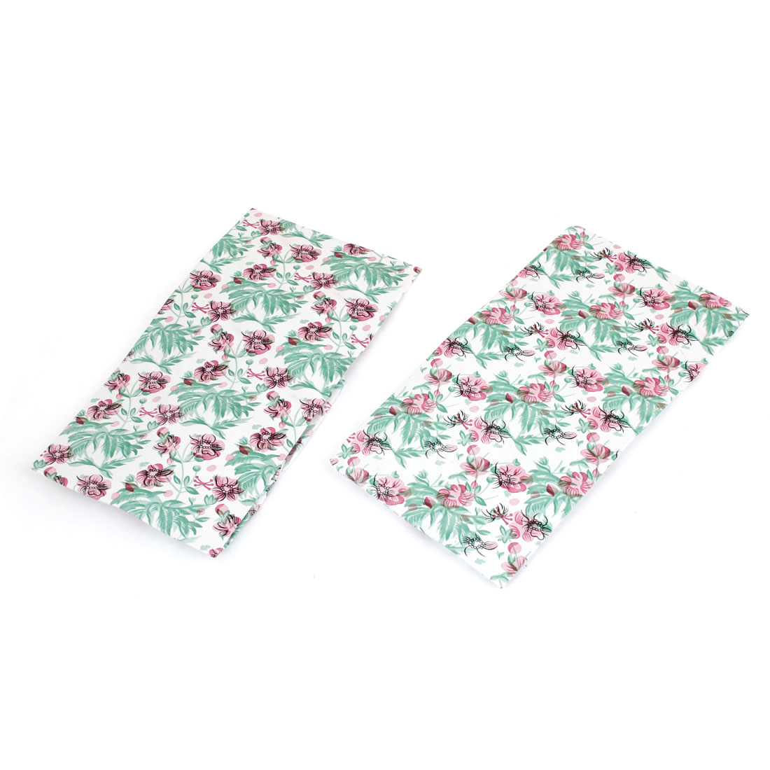 2 Pcs Woman Pink Green Flower Leaf Prints Hair Holder Stretchy Shower Cap White - image 1 of 1