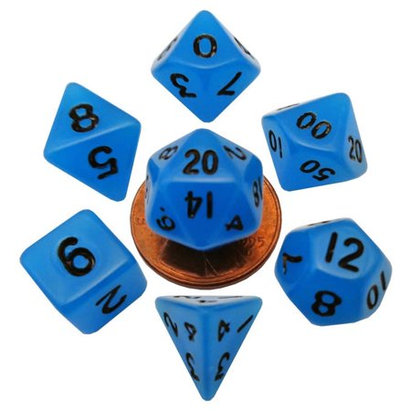 Blue Glow In The Dark Dice with Black Numbers 10mm (3/8in) 7-Dice Set Metallic Dice - Glow In The Dark Games For Kids