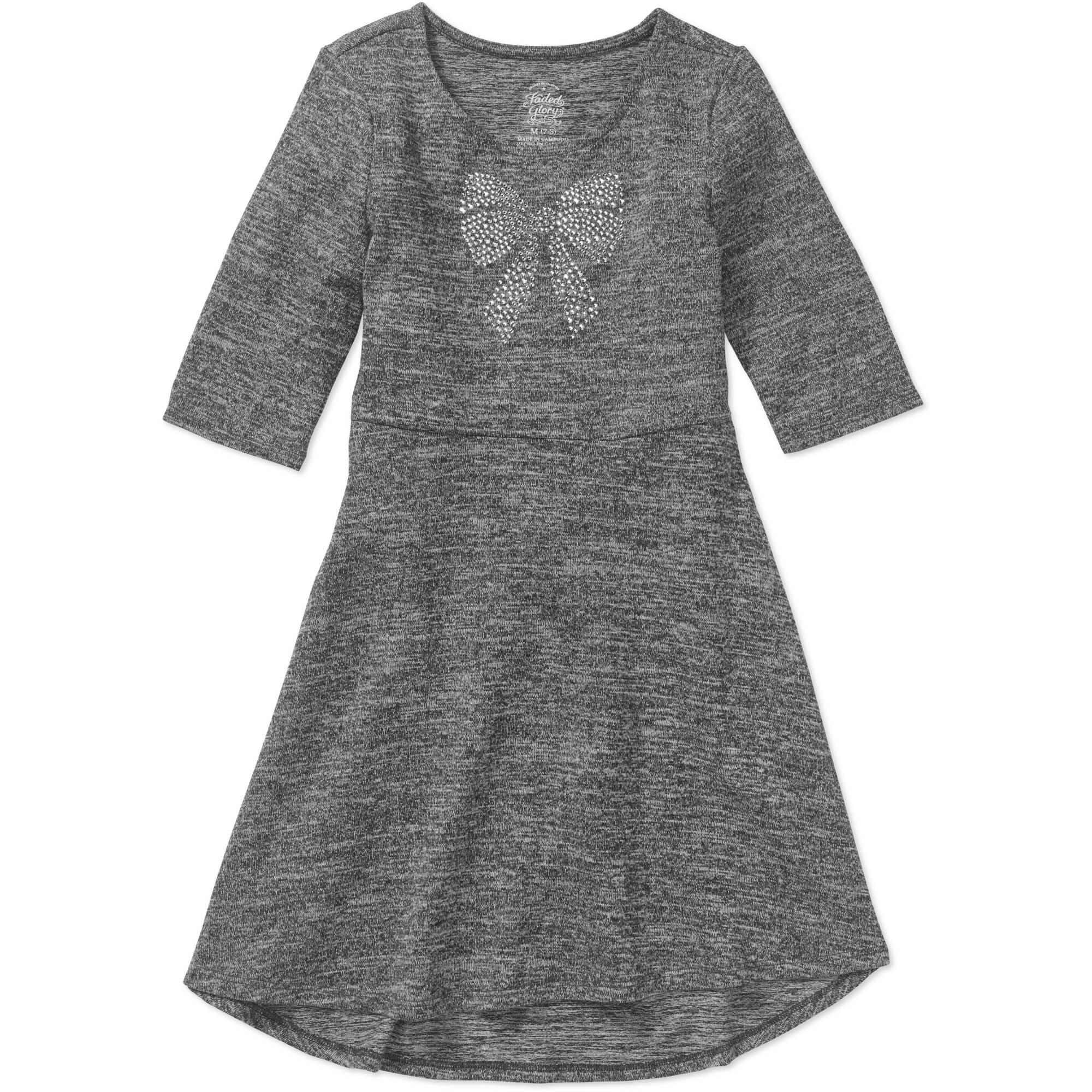 Faded Glory Girls' Elbow Sleeve Hacci Dress