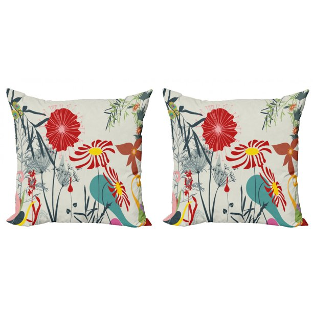 Floral Throw Pillow Cushion Cover Pack Of 2 Dandelions Garden Beauty With Vivid Full Of Various Wild Flower Bloom Modern Graphic Zippered Double Side Digital Print 4 Sizes Multicolor By Ambesonne Walmart Com