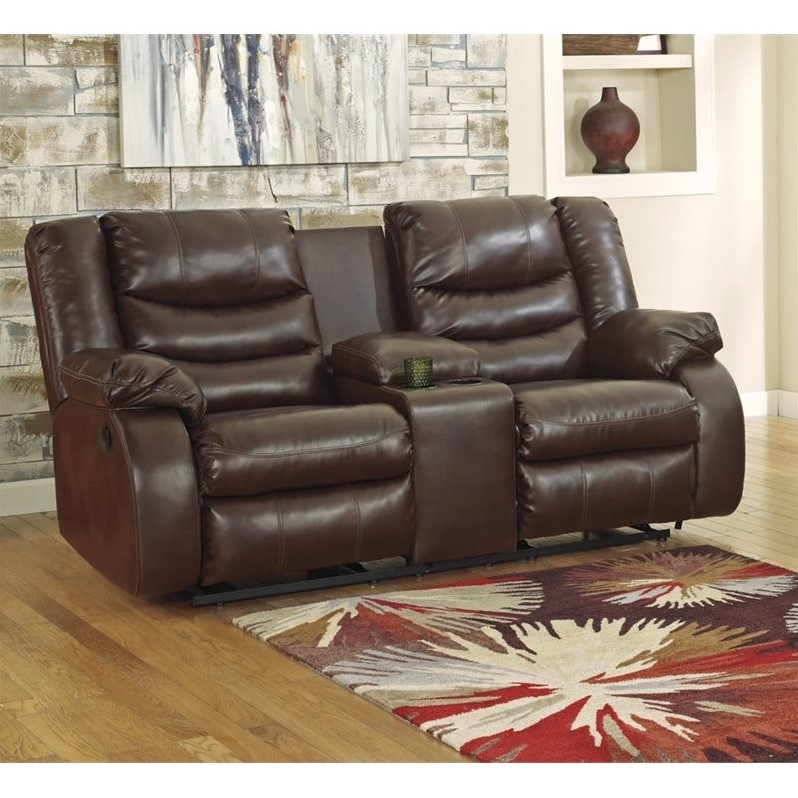 Signature Design by Ashley Linebacker DuraBlend Double Reclining Loveseat with Console