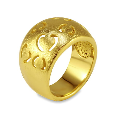 Gold Plated Stainless Steel Band with Heart Outline Cut-Outs