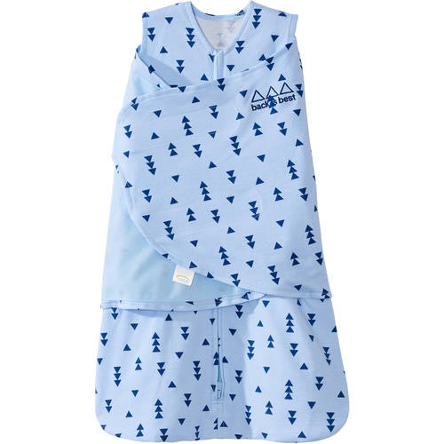 HALO SleepSack Swaddle, 100 Percent Cotton, Triangle Blue Denim, Choose Your Size