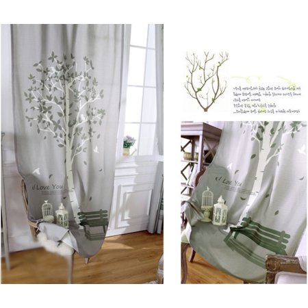 Pair 70*130cm Door Curtain Polyester Study Curtains Tree Home Decor Painting Window Scarf Drapes Living Room Bedroom Hotel - image 2 of 3