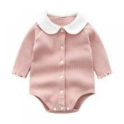 Baby Romper, Girls Long Sleeve Bodysuit Newborn Cotton Outfit, 0-12 Months