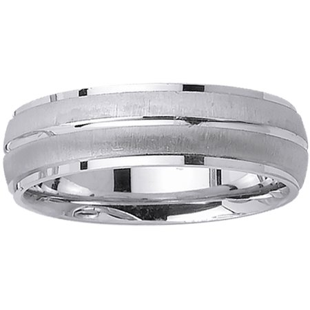 14K White Gold Twin Stipes Modern Comfort Fit Women's Wedding Band (14k White Gold Twin Prong)