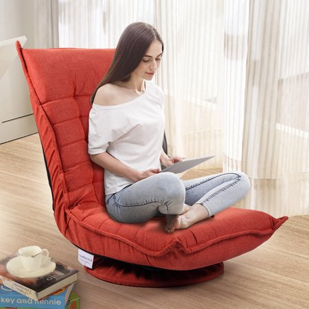 Jaxpety Adjustable 5-Position Floor Chair Fabric Folded 360 Rotation Swivel Video Rocker Gaming Sofa Chair Angle Chair Orange Red Fabric Swivel Chair