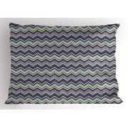 Ikat Pillow Sham, African Ornamental Chevron Pattern with Retro Tribal Design Elements, Decorative Standard Size Printed Pillowcase, 26 X 20 Inches, Pale Blue Ivory and Purple, by Ambesonne
