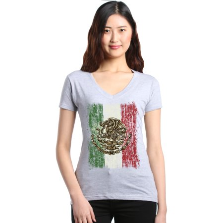 Shop4Ever Women's Flag of Mexico Mexican Cinco de Mayo Slim Fit V-Neck T-Shirt - Cinco De Mayo Clothing