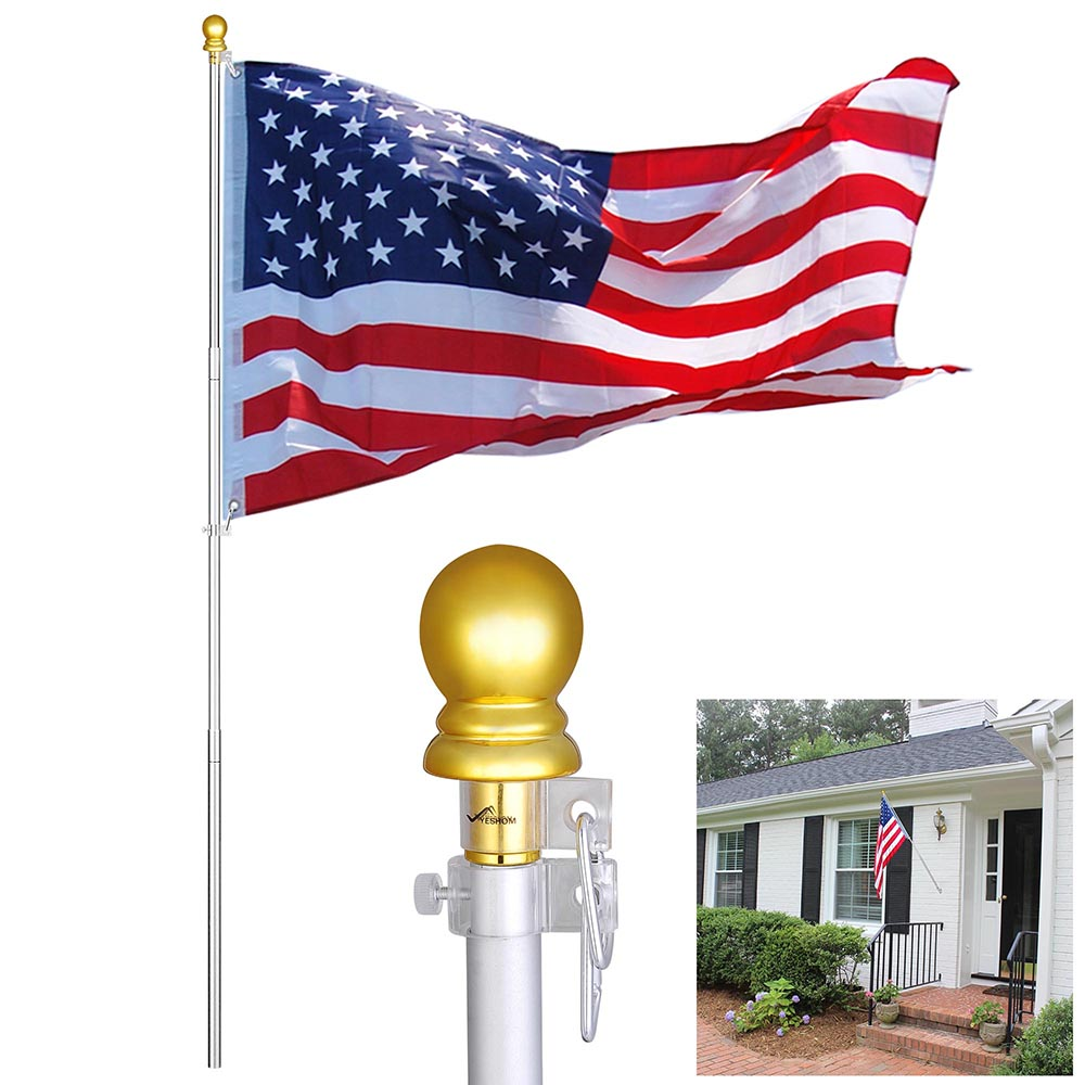 YesHom 6.5' Aluminum Anti-Winding Sectional Flagpole with USA Flag and Gold Ball for Wall-Mounted Hand-held