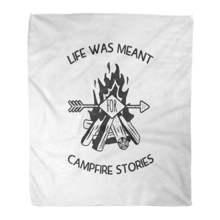HATIART Throw Blanket Warm Cozy Print Flannel Vintage Adventure Label Life was Meant for Campfire Stories Sign and Activity Comfortable Soft for Bed Sofa and Couch 58x80 Inches - image 1 of 1
