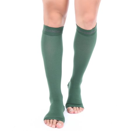 Doc Miller Premium Open Toe Compression Sleeve 1 Pair 20-30mmHg Medical Grade Strong Calf Support Graduated Pressure Sports Running Recovery Shin Splints Varicose Veins CVD Yoga Socks DARK GREEN