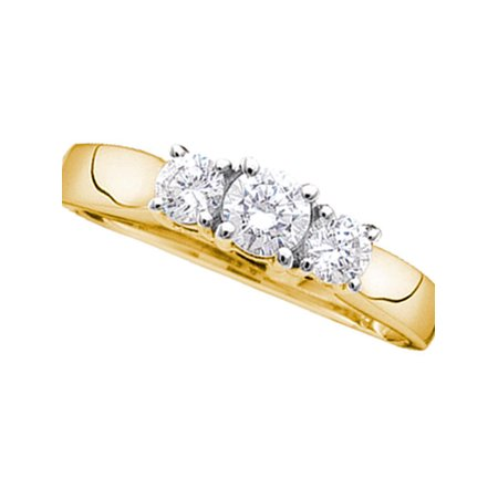 14kt Yellow Gold Womens Round Diamond 3-stone Bridal Wedding Engagement Ring 1/4 Cttw - image 1 de 1