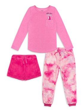 Petit Lem Girls Long Sleeve Top, Short And Pant 3-Piece Pajama Set Sizes 4-14