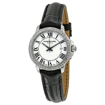 Tango Silver Dial Diamond Black Leather Ladies Watch