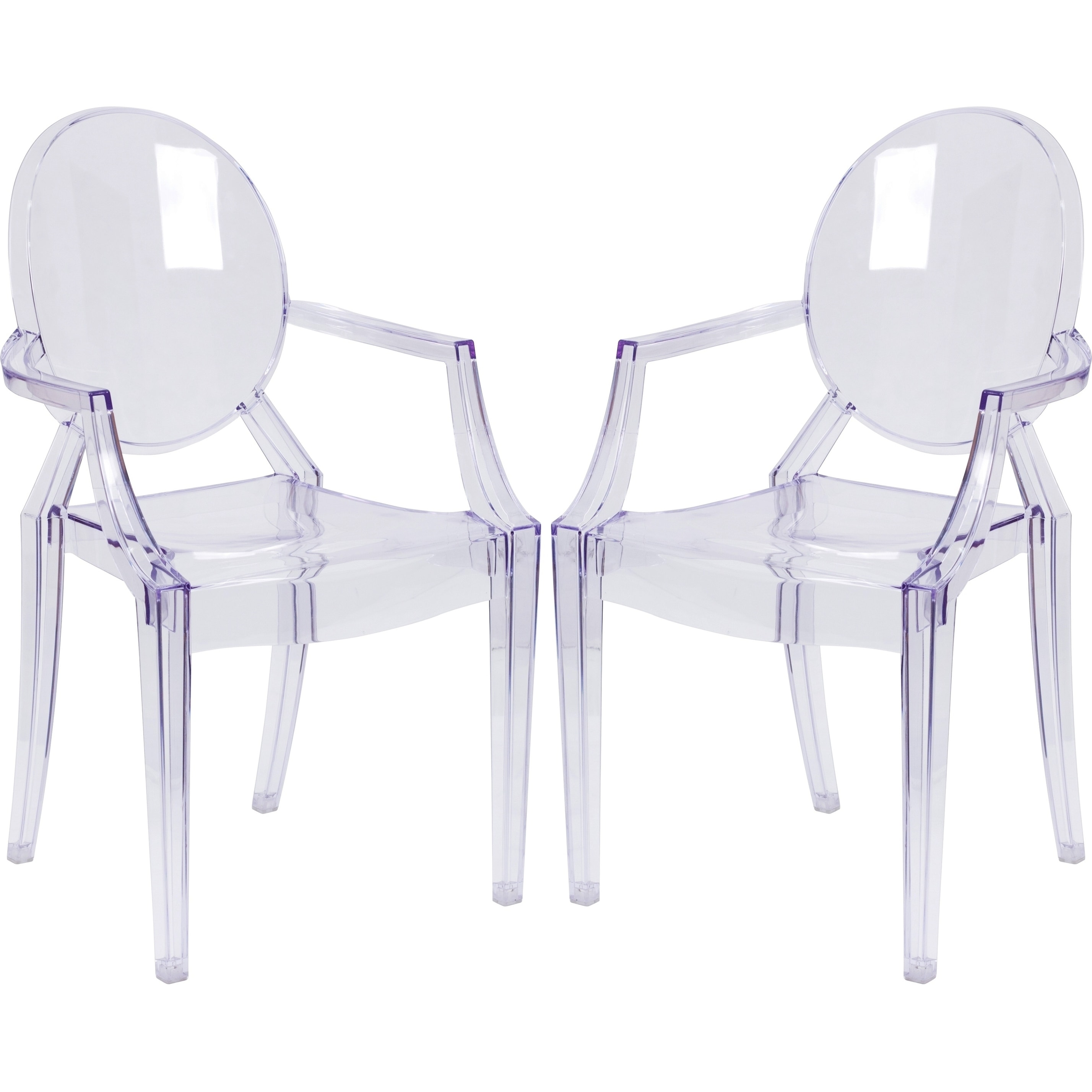 A Line Furniture Ghost Design Transparent Crystal Round Back Arm Chair