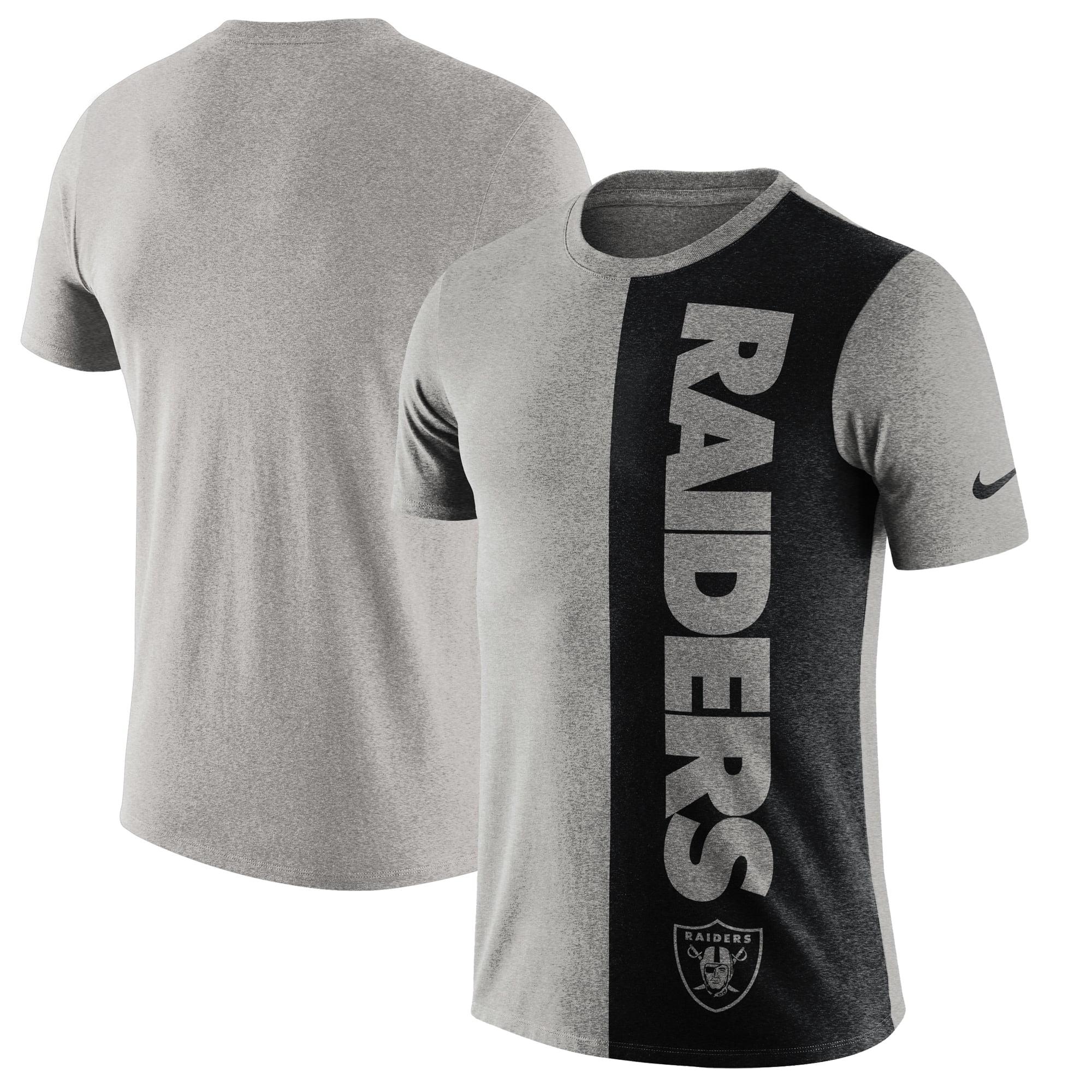 Oakland Raiders Nike Coin Flip Tri-Blend T-Shirt - Heathered Gray/Black