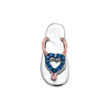 10kt White Gold Womens Round Blue Color Enhanced Diamond Nautical Flip-flop Sandal Shoe Pendant 1/20 Cttw