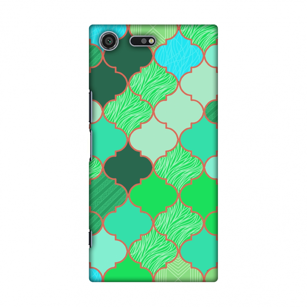Sony Xperia XZ Premium Case - Stained glass- American green, Hard Plastic Back Cover, Slim Profile Cute Printed Designer Snap on Case with Screen Cleaning Kit