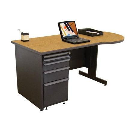 Zapf Teachers Computer Desk with 3 Left Drawers Finish: Dark Neutral, Laminate Color: Solar Oak