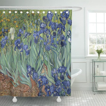 PKNMT Irises by Vincent Van Gogh 1889 Dutch Post Impressionist Shower Curtain 60x72 inches