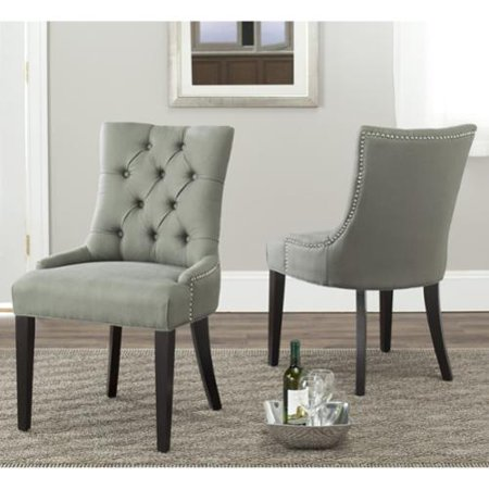 Safavieh En Vogue Dining Abby Grey Linen Nailhead Dining Chairs Set Of 2